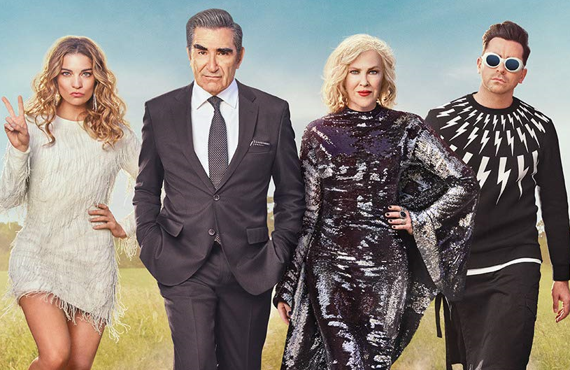 Annie Murphy, Eugene Levy, Catherine O'Hara and Daniel Levy in Schitt's Creek