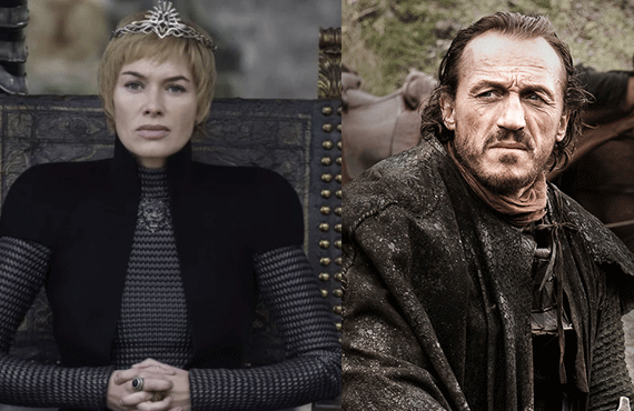 Cersei and Bronn, apart as usual on Game of Thrones