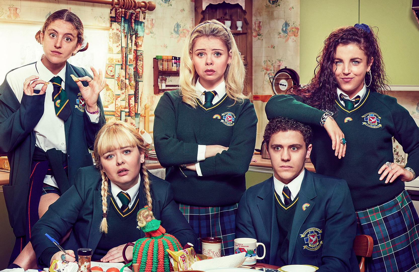 Left to right, Orla (Louisa Harland), Clare (Nicola Coughlan), Erin (Saoirse-Monica Jackson), James (Dylan Llewellyn), and Michelle (Jamie-Lee O'Donnell) in Derry Girls (Channel 4/Netflix)