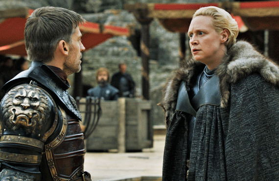 Jamie Lannister and Brienne of Tarth on Game of Thrones