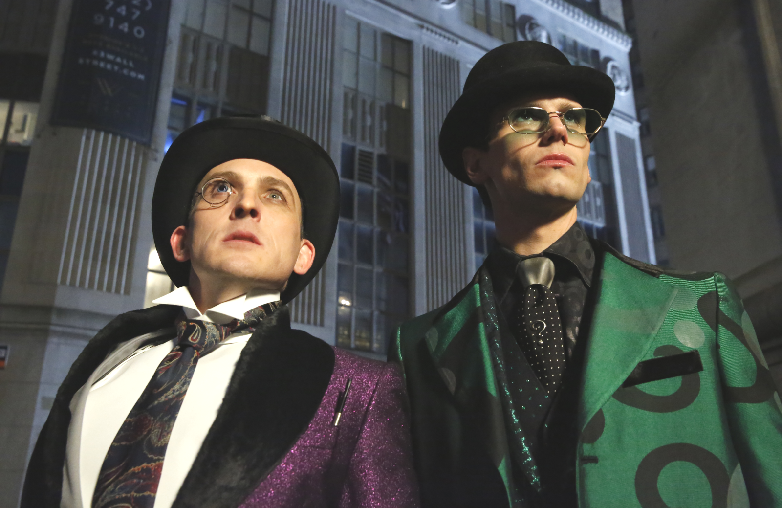Robin Lord Taylor and Cory Michael Smith as The Penguin and The Riddler in tonight's series finale of Gotham (FOX)
