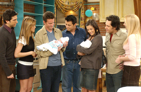 David Schwimmer, Jennifer Aniston, Matthew Perry, Matt LeBlanc, Courteney Cox, Paul Rudd, Lisa Kudrow in the Friends series finale (NBC)