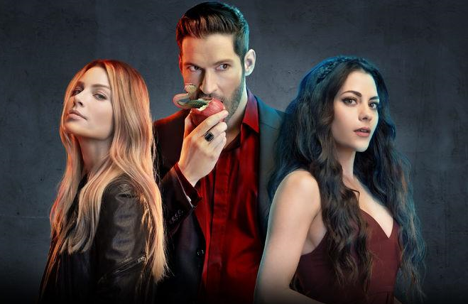 Lauren German, Tom Ellis and Inbar Lavi in Lucifer (Netflix)