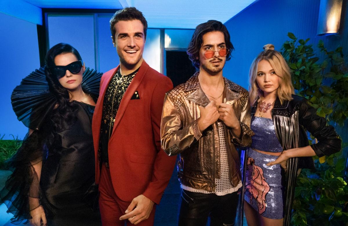 Roxane Mesquida, Beau Mirchoff, Avan Jogia, and Kelli Berglund in Now Apocalypse (Starz)