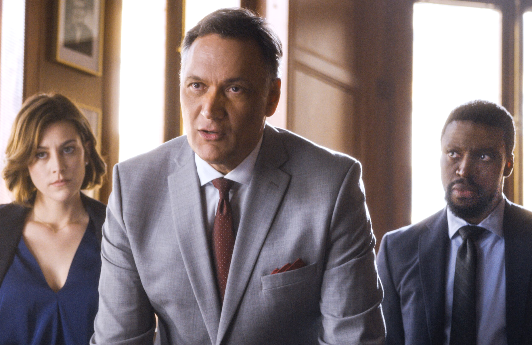 Caitlin McGee, Jimmy Smits and  Michael Luwoye in the pilot episode of the NBC legal drama <i>Bluff City Law</i>