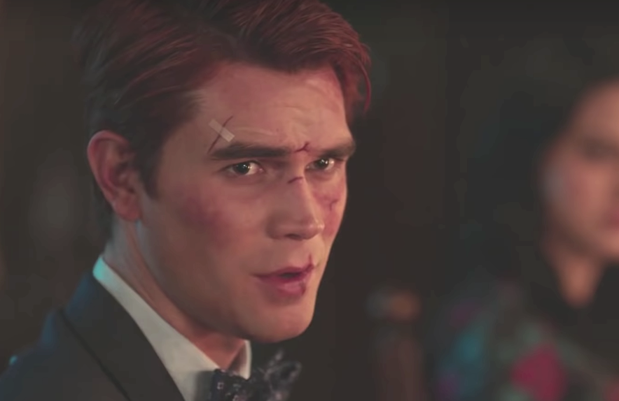 K.J. Apa as Archie in a scene from tonight's Riverdale season finale (The CW)