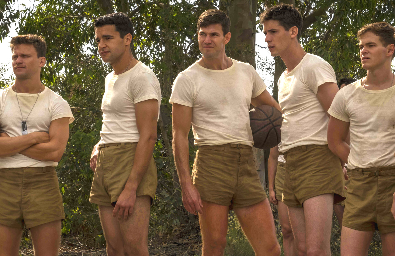 Jon Rudnitsky, Christopher Abbott, Austin Stowell, Pico Alexander and Graham Patrick Martin in Catch-22 (Hulu)