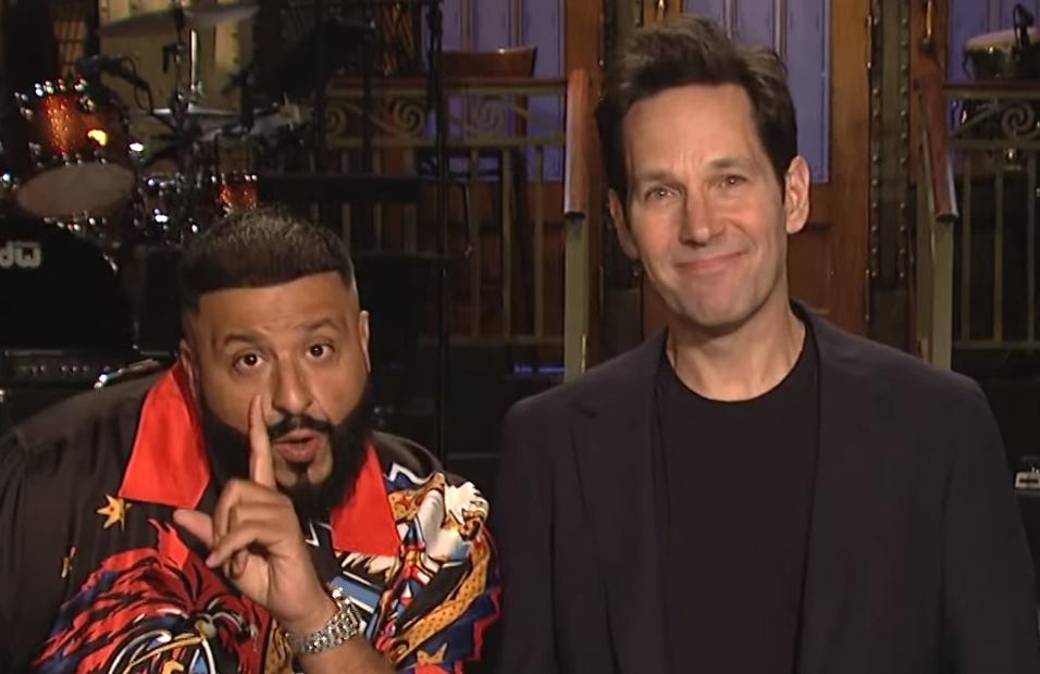 DJ Khaled and Paul Rudd at homebase for tonight's Saturday Night Live season finale. (NBC)