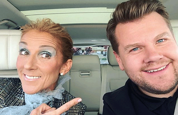 Celine Dion and James Corden in tonight's Late Late Show Carpool Karaoke Primetime Special 2019