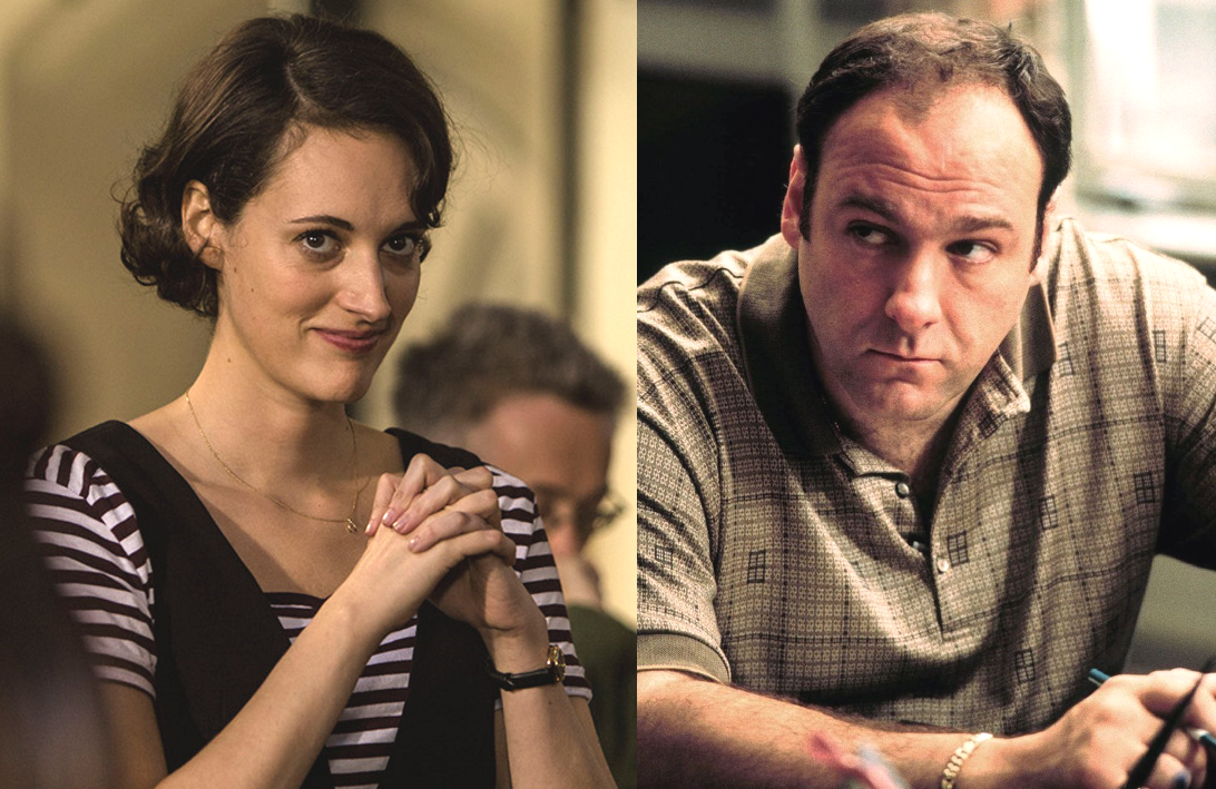 Phoebe Waller-Bridge in Fleabag and James Gandolfini in The Sopranos (Photos: Amazon, HBO)