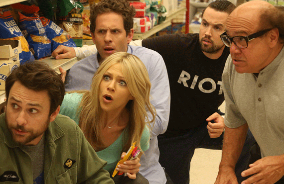 Charlie Day, Caitlin Olson, Glen Howerton, Rob McElhenney, and Danny DeVito in It's Always Sunny in Philadelphia (FX)