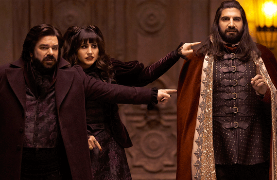 Matt Berry, Natasia Demetriou and Kayvan Novak in What We Do in the Shadows (FX)