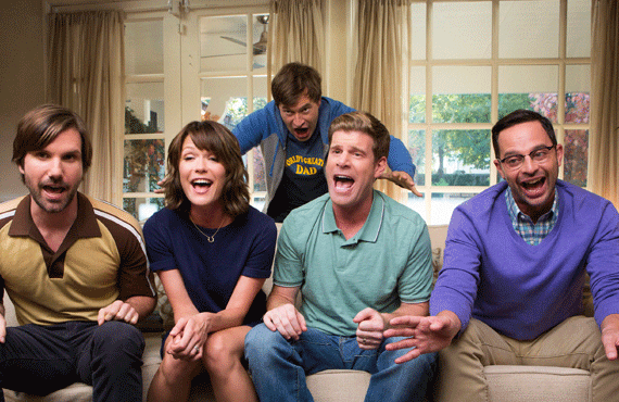 Jon Lajoie, Katie Aselton, Mark Duplass, Stephen Rannazzisi and Nick Kroll in The League (Photo: Jessica Brooks/FX)