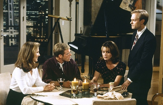 """Peri Gilpin, Scott Atkinson, Jane Leeves and David Hyde Pierce in """"The Two Mrs Cranes"""" (Photo: NBC)"""