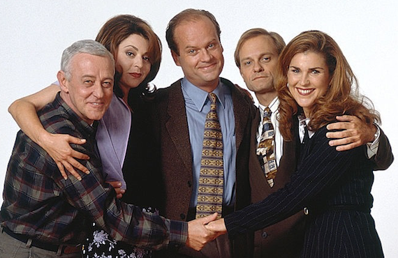 John Mahoney, Jane Leaves, Kelsey Grammer, David Hyde Pierce, and Peri Gilpin starred in Frasier (CBS)