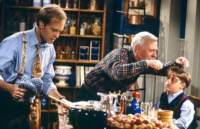 "David Hyde Pierce, John Mahoney, and Trevor Einhorn in ""A Lilith Thanksgiving"" (Photo: NBC)"