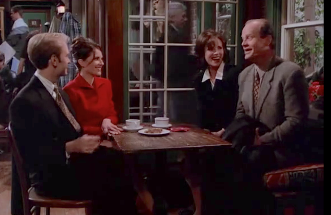 """David Hyde Pierce, Megan Mullally, Lisa Darr, and Kelsey Grammer in """"Four for the Seesaw"""" (Photo: NBC)"""