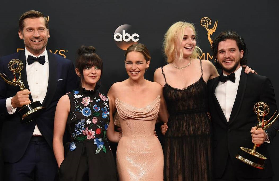 The Game of Thrones cast celebrate their Emmy dominance, circa 2016 (Photo: ABC)