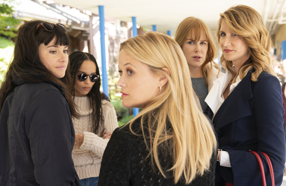 Shailene Woodley, Zoe Kravitz, Reese Witherspoon, Nicole Kidman, and Laura Dern in Big Little Lies (HBO)