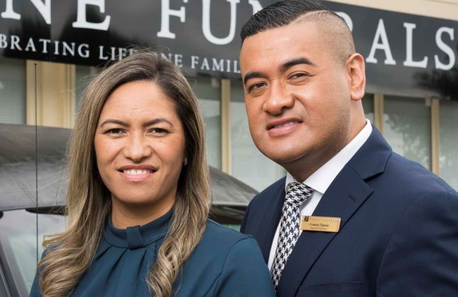 Funeral home owners Kaiora and Francis Tipene star in the Kiwi reality series, Casketeers. (Netflix)
