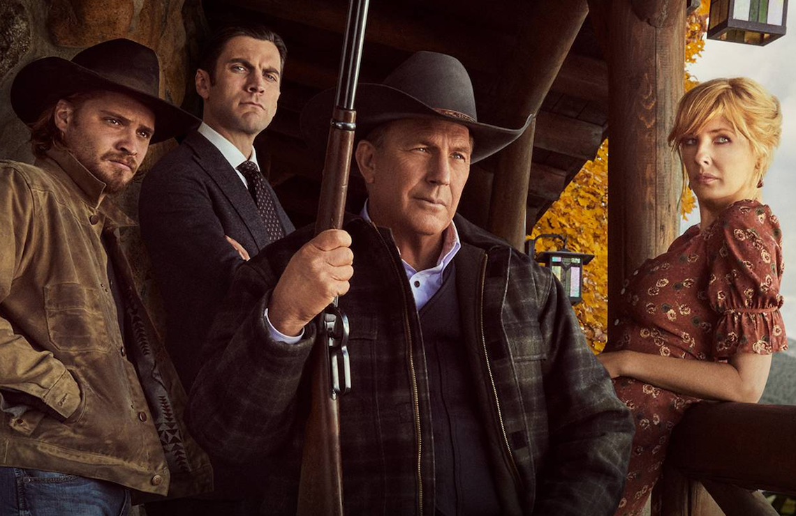 Luke Grimes, Wes Bentley, Kevin Costner, and Kelly Reilly in Yellowstone (Paramount Network)