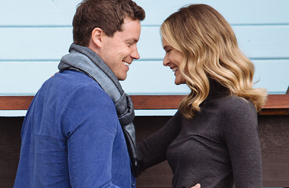 <i> Greg Poehler as Jack Trakarsky and Rachel Blanchard as Emma Trakarsky in You Me Her (Audience Network)</i>