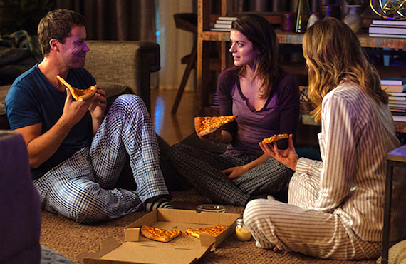 <i>Greg Poehler, Priscilla Faia, and Rachel Blanchard in You Me Her (Audience Network)</i>