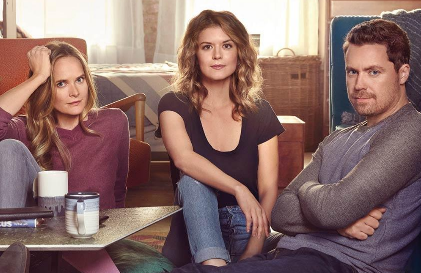 Greg Poehler, Priscilla Faia, and Rachel Blanchard in You Me Her (Audience Network)