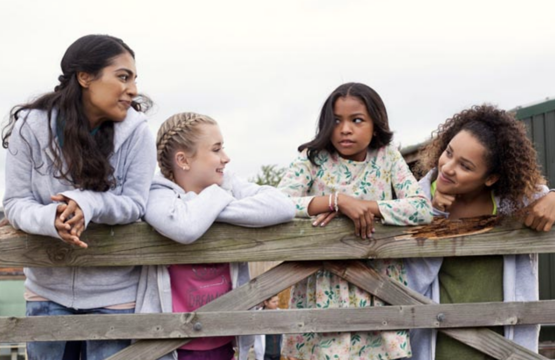 <i>Manpreet Bambra, Kerry Ingram, Navia Ziraili Robinson, and Jaylen Barron in Free Rein (Netflix)</i>
