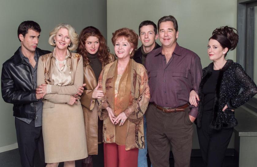 Eric McCormack, Blythe Danner, Debra Messing, Debbie Reynolds, Sean Hayes, Beau Bridges and Megan Mullally in Will & Grace