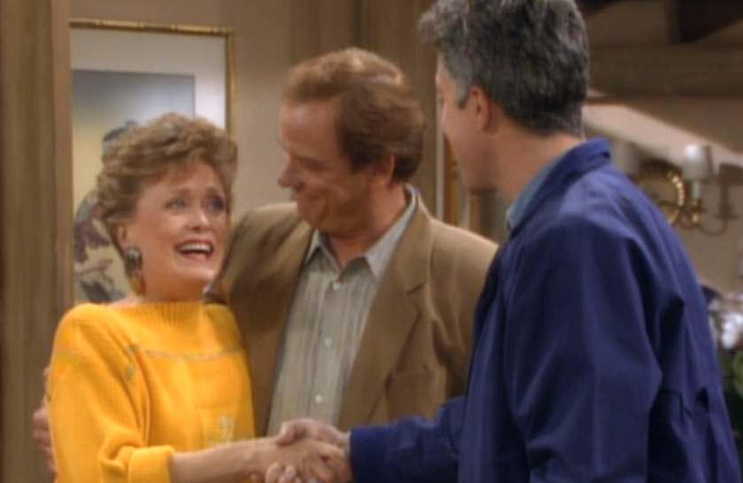 Rue McClanahan, Monte Markham and Michael Ayr in The Golden Girls (Hulu)