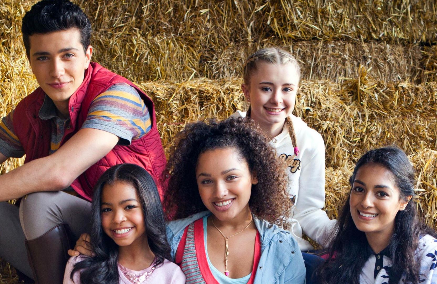 Bruce Herbelin-Earle, Jaylen Barron, Kerry Ingram, and Manpreet Bambra in Free Rein (Netflix)