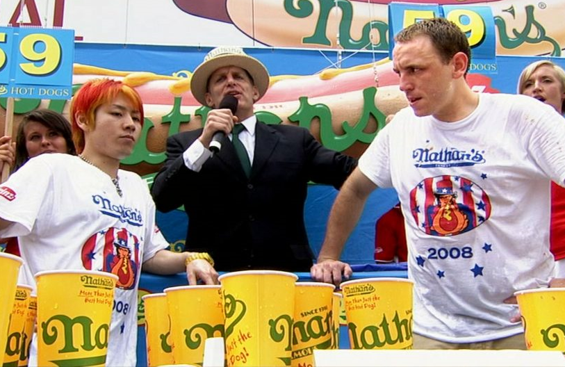 Nathan's Hot Dog Eating Contest rivals Takeyru Kobayashi and Joey Chestnut in 30 for 30: The Good, the Bad, the Hungry (Photo: ESPN Films)