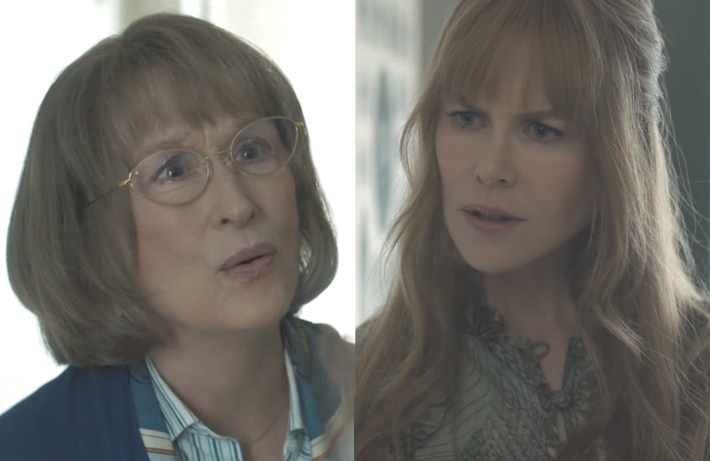 Meryl Streep and Nicole Kidman seconds before the slap heard 'round the world in Big Little Lies (HBO)