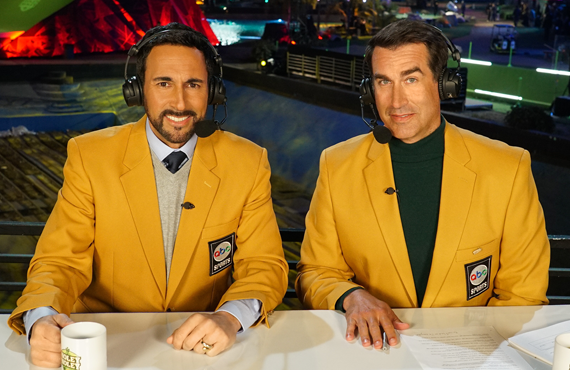 Joe Tessitore and Rob Riggle in Holey Moley (ABC)
