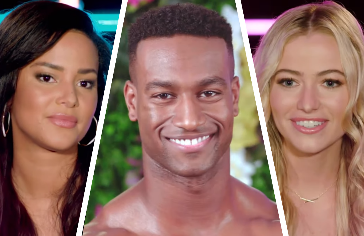 Kyra Green,  Yamen Sanders and Elizabeth Weber in Tuesday night's premiere episode of Love Island (CBS)
