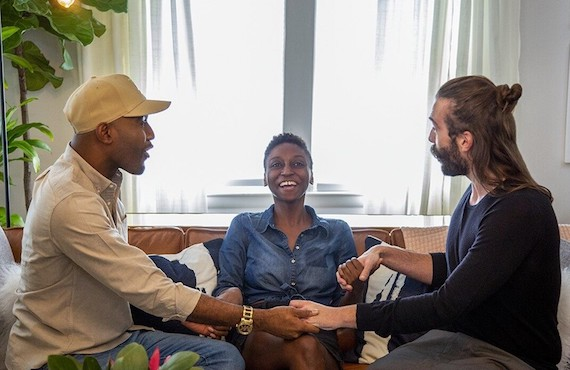 <i>Karamo Brown and Jonathan Van Ness bond with Lawrence, Kansas, college student Jess Guilbeaux. (Netflix)</i>