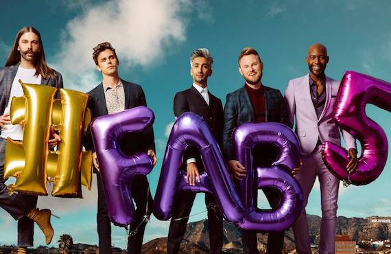 Jonathan Van Ness, Antoni Porowski, Tan France, Bobby Berk, and Karamo Brown in a promotional photo for Queer Eye. (Netflix)