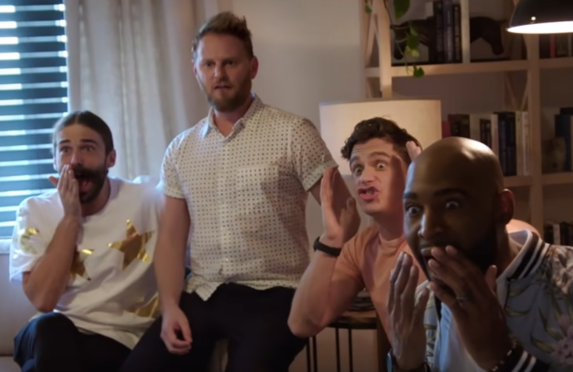 <i>Reacting to the big reveal on Queer Eye. (Netflix)</i>