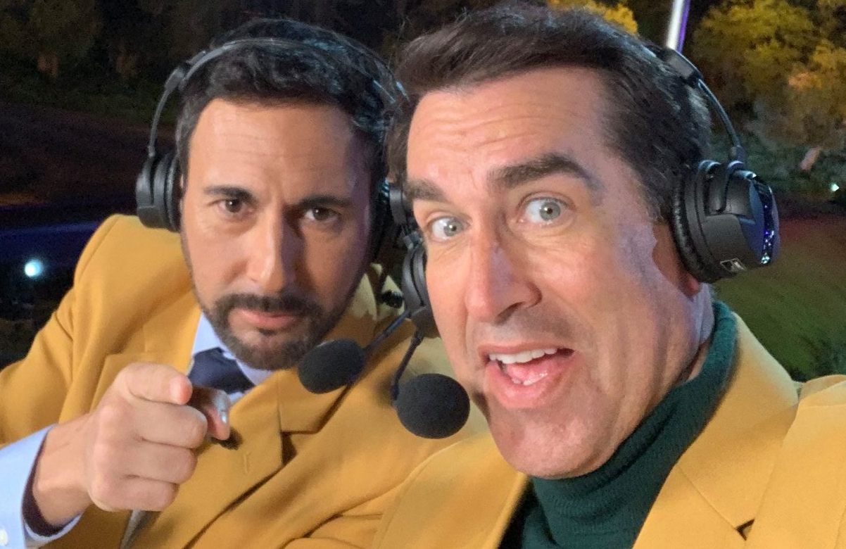 Commentators Joe Tessitore and Rob Riggle provide the merciless play-by-play as mini golf players risk life and limb in pursuit of a hole in one on Holey Moley (ABC)