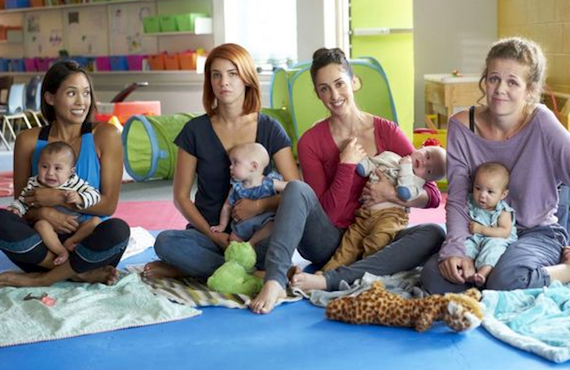 Jenny (Jessalyn Wanlim), Anne (Dani Kind), Kate (Catherine Reitman, who created Workin' Moms), and Frankie (Juno Rinaldi) at their weekly mommy group in <i>Workin' Moms</i> (CBC/Netflix)