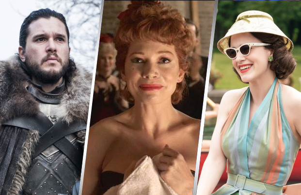 Kit Harrington in Game of Thrones (HBO), Michelle Williams in Fosse/Verdon (FX) and Rachel Brosnahan in The Marvelous Mrs Maisel (Amazon)