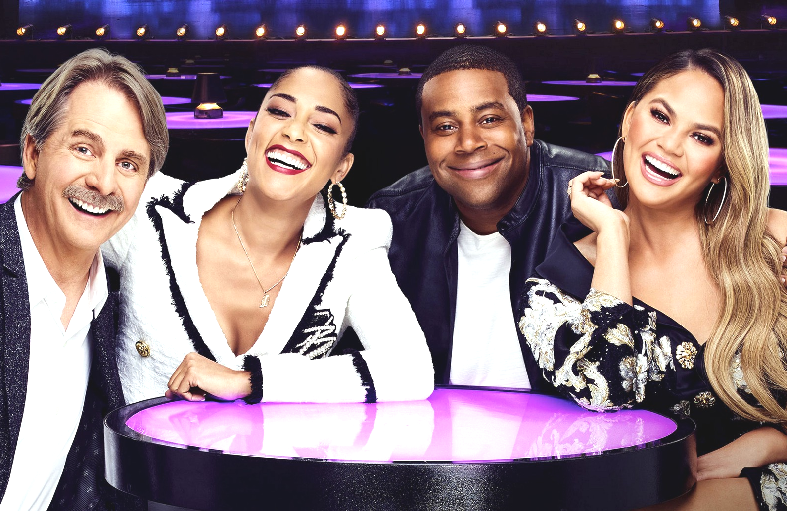 Jeff Foxworthy, Amanda Seales, Kenan Thompson and Chrissy Tiegen in Bring the Funny (Photo: NBC)