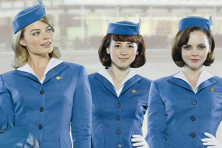 A young Margot Robbie (left) co-stars in the TV series Pan Am, available for free on Crackle.