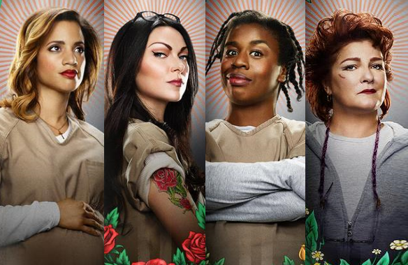 Dascha Polanco, Laura Prepon, Uzo Aduba and Kate Mulgrew in Orange Is the New Black (Netflix)
