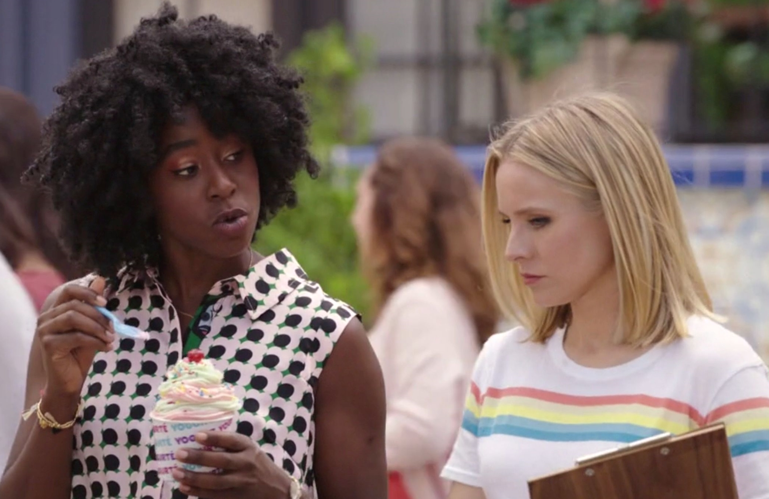 Howell-Baptiste and Bell in The Good Place (NBC)