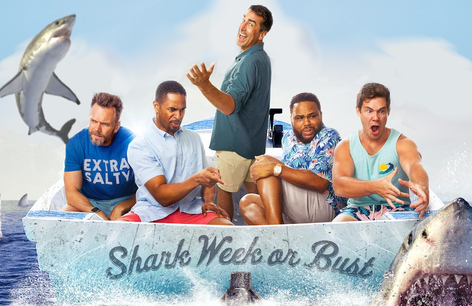 Joel McHale, Damon Wayans Jr., Rob Riggle, Anthony Anderson and  Adam DeVine star in Shark Trip: Eat. Prey. Chum.  (Discovery)