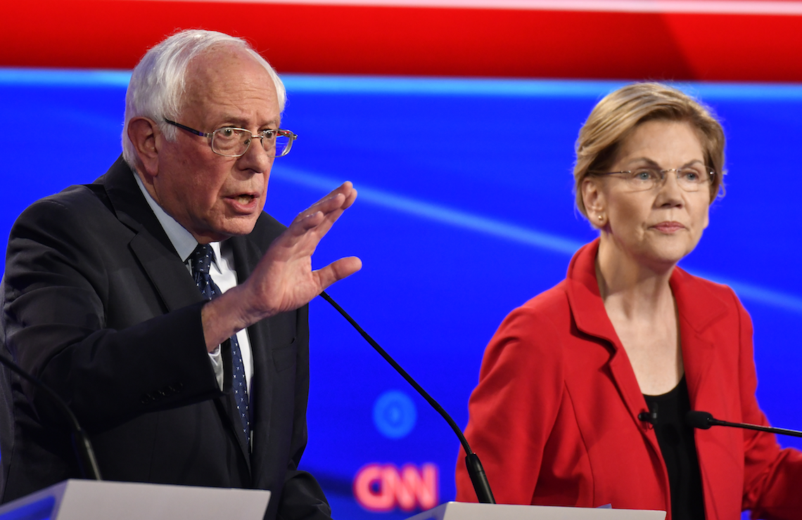 Bernie Sanders and Elizabeth Warren held center stage (and got the most speaking time) in Tuesday's Democratic debate. (CNN)