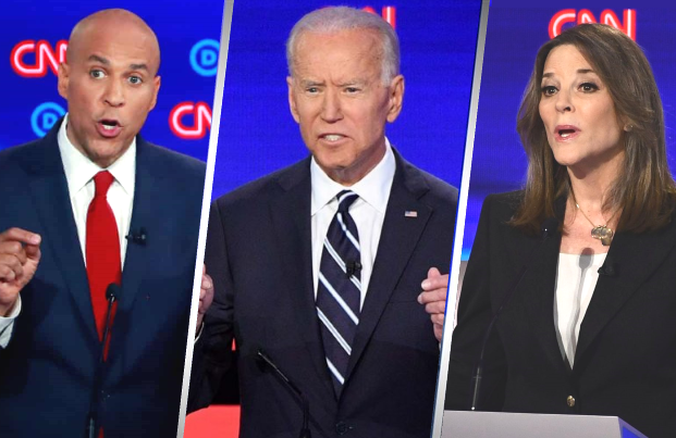 Cory Booker, Joe Biden and Marianne Williamson on stage at this week's Democratic Primary Debates