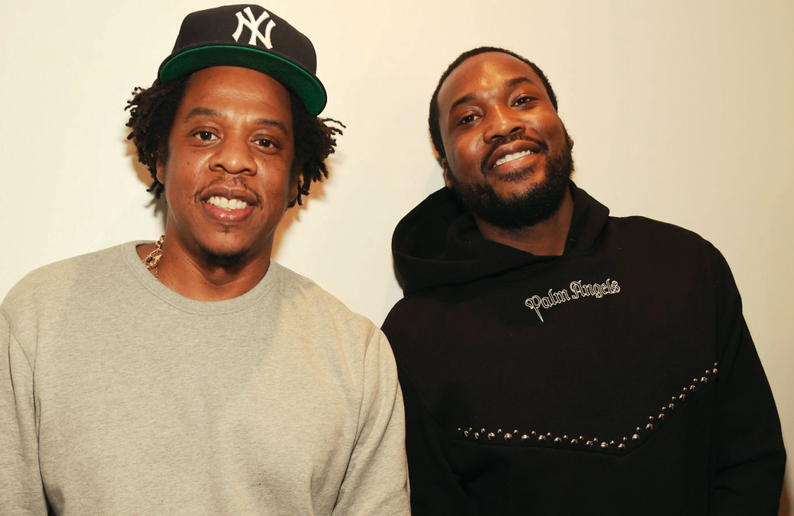 Jay-Z with Meek Mill. Roc Nation, Jay-Z's company, produced Free Meek for Amazon.